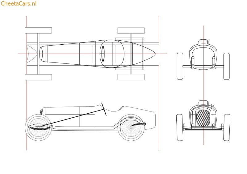 Cheeta C8 GP Monza technische tekening van het schaalmodel